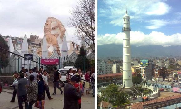 Derruida la mítica torre Bhimsen - 310x