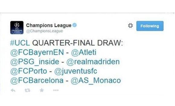 El falso emparejamiento en cuartos de la Champions League - EcoDiario.es