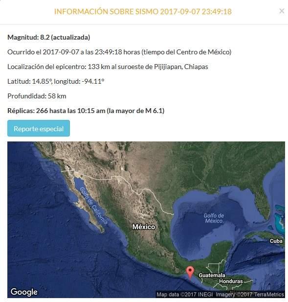 Reportan temblor de 8.1 grados en la Ciudad de México