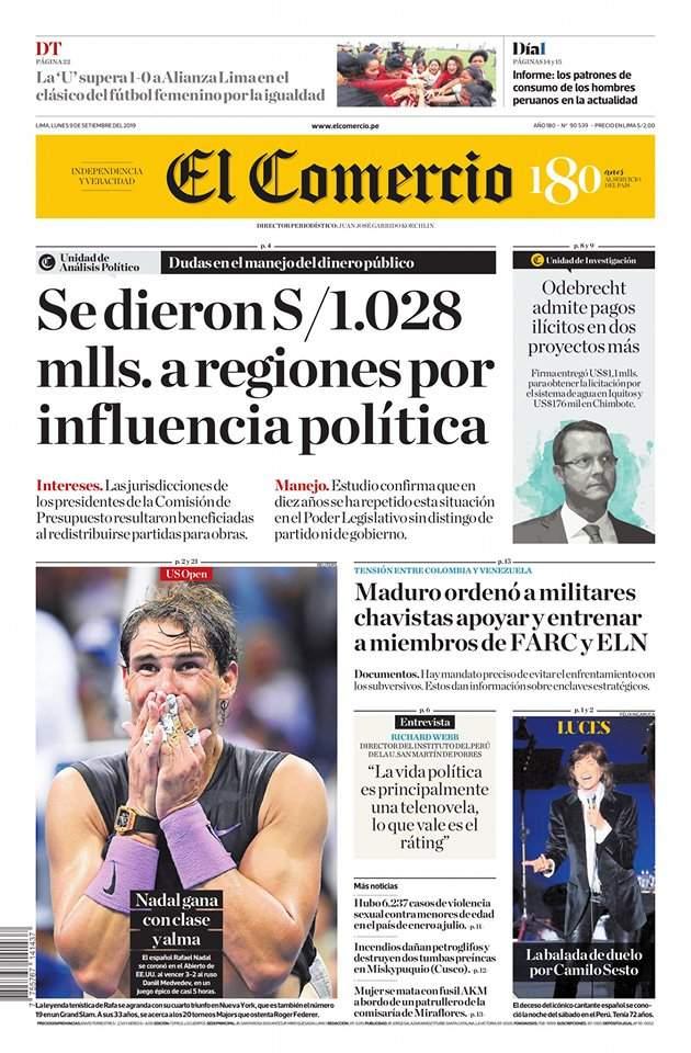 Revista De Prensa Del Peru Principales Portadas Hoy 9 De Setiembre Del 2019 Eleconomistaamerica Pe