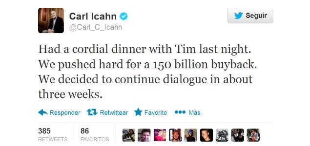 Apple sube en bolsa... y otra vez de la mano de Carl Icahn