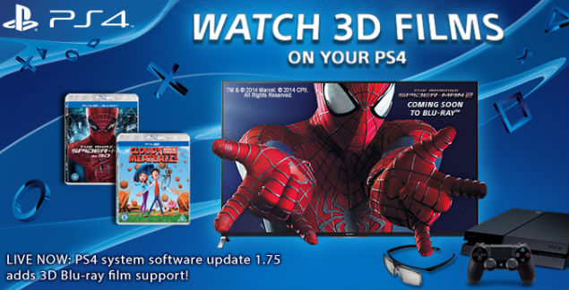 sony actualiza la playstation 4 para que pueda leer blu rays 3d. Black Bedroom Furniture Sets. Home Design Ideas