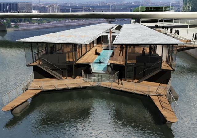Un hotel flotante sobre el Sena