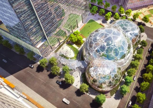 Un jardín en forma de burbuja para los empleados de Amazon