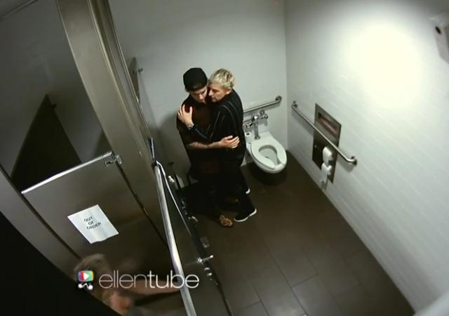 6c4d7c30042c Justin Bieber y Ellen Degeneres: Camara oculta en el baño ...