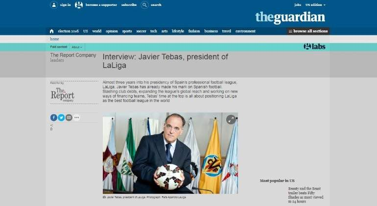 Captura de la entrevista a Javier Tebas en The Guardian EE