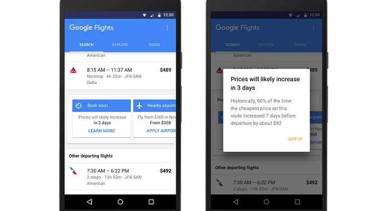 Google informará al usuario de cuándo comprar el billete de avión más barato
