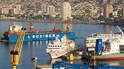 Puerto de mercancas de Valparaso en Chile