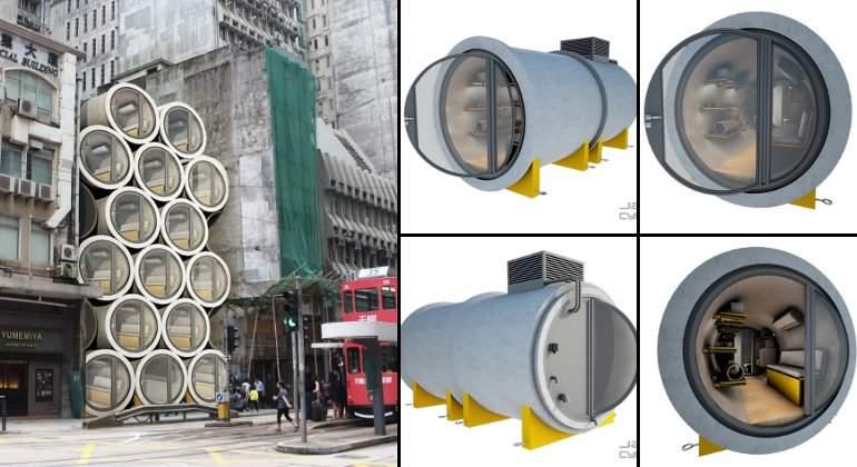 'Casas-tubería', la alternativa a los altos precios del suelo en Hong Kong