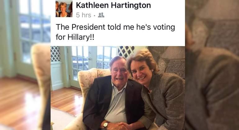 Afirma Kennedy que George Bush votará por Clinton