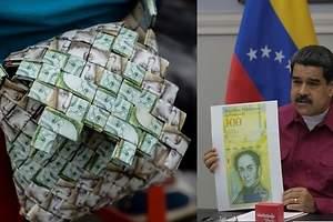 Bolsos con billetes de bolívar