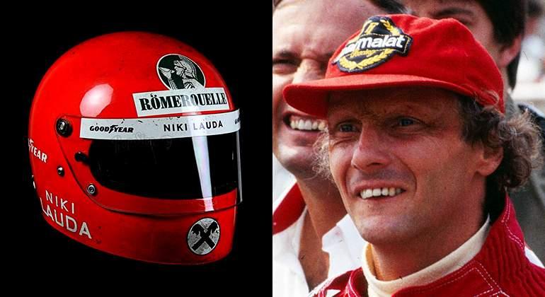 5437a06a6b611 El icónico casco de Niki Lauda en sus primeros Mundiales  y la gorra que le  ha acompañado siempre desde el accidente de 1976