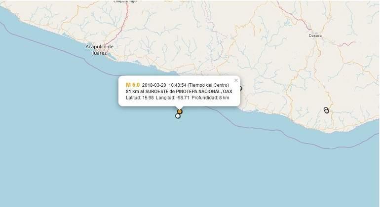 Ocurre otro sismo de magnitud 5.5 en Pinotepa