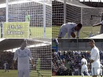 Cazan a Cristiano Ronaldo enzarzándose con un recogepelotas en Getafe