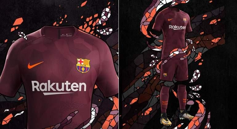 El Barcelona presenta su tercera equipación  granate como la de la Roma y  con guiños a Gaudí 170eb20dade