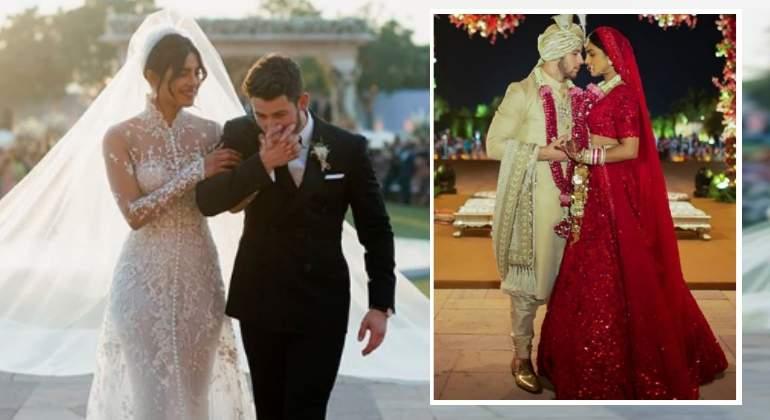 priyanka chopra, espectacular: así fueron sus dos vestidos de novia