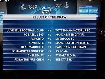 Sorteo de octavos: Real Madrid-PSG, Chelsea-FC Barcelona y Sevilla-United
