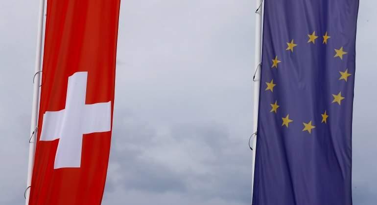 Banderas de Suiza y de la UE