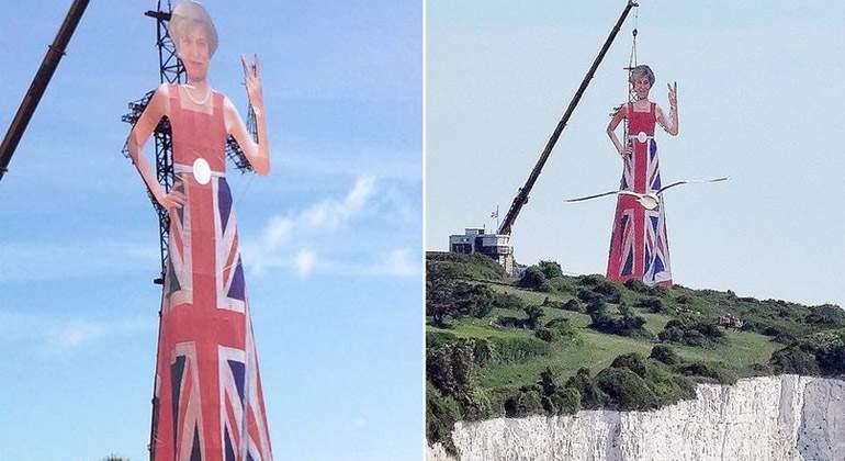 Una Theresa May gigante \'saluda\' a Europa en los acantilados de ...