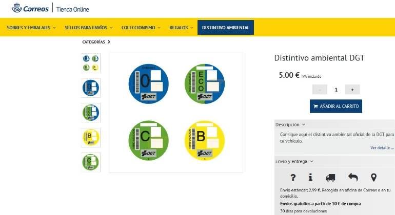 Correos ya permite comprar la etiqueta de la DGT por internet y recibirla  en casa 108bf4cb7f077