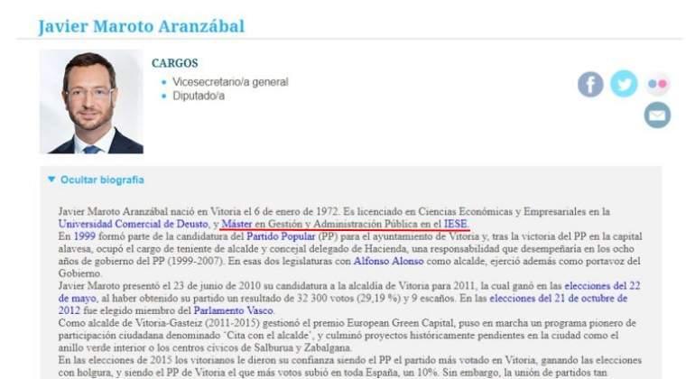 Maroto reconoce que en su currículum colgado en la web del PP ...