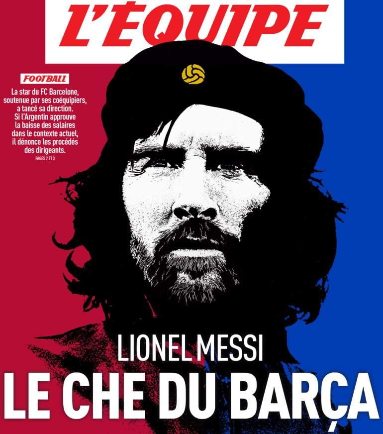 Messi convertido en el Che Guevara en la portada de L'Equipe