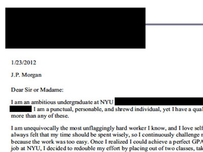 wall street cover letter