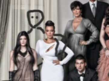 Kardashians 2013 Christmas Card.Kanye West Used To Draw Himself Into The Kardashian
