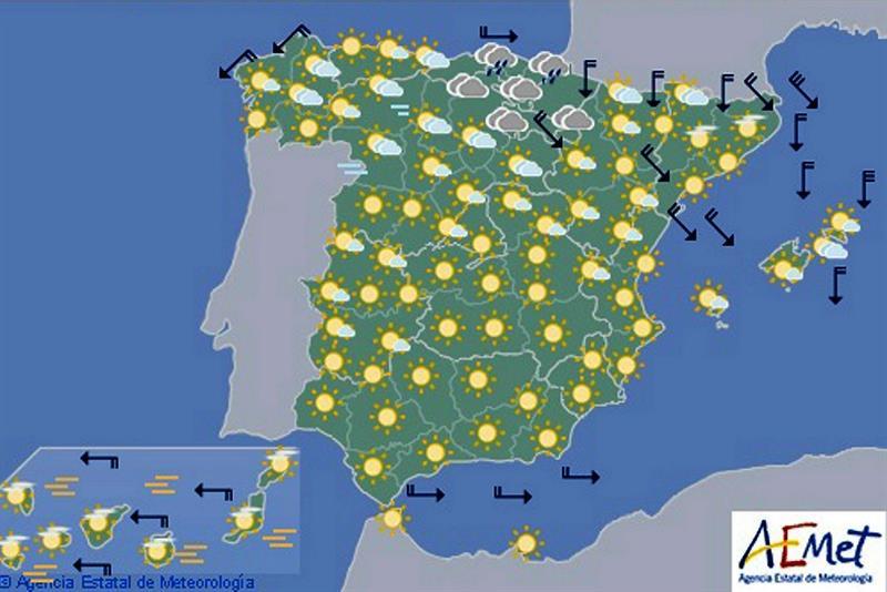 Mañana, viento con fuertes rachas en noreste y ascenso de las temperaturas mínimas