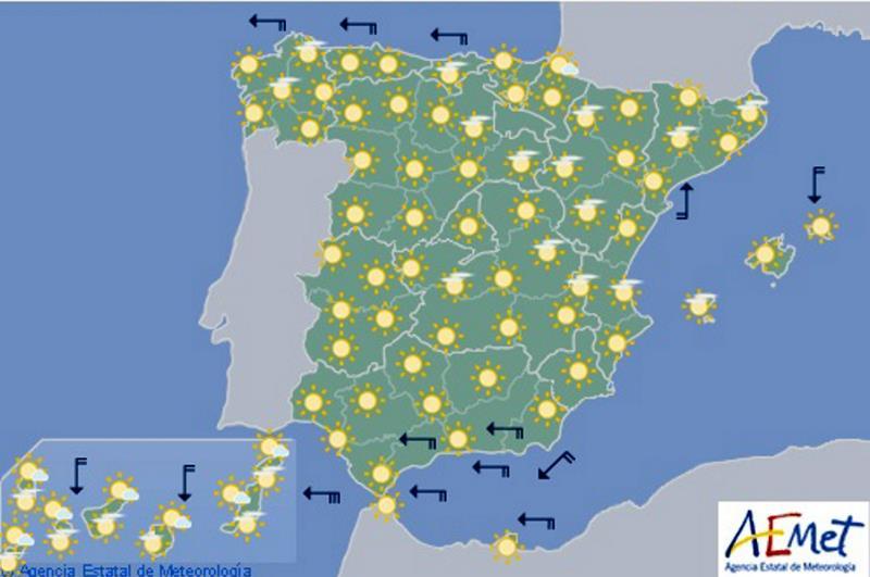 Mapa Del Tiempo España Fin De Semana.Las Altas Temperaturas Del Fin De Semana Se Mantendran Hoy